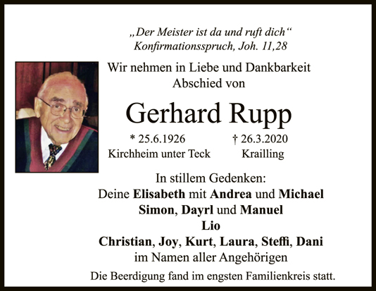 """Trauer Gerhard Rupp <br><p style=""""font-size: 10px; text-align: center;"""">04/04/2020</p>"""