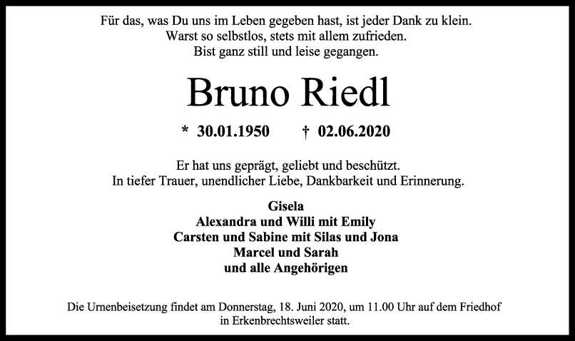 Trauer Bruno Riedl <br><p style=