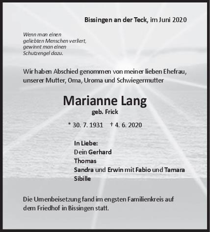 Trauer Marianne Lang <br><p style=