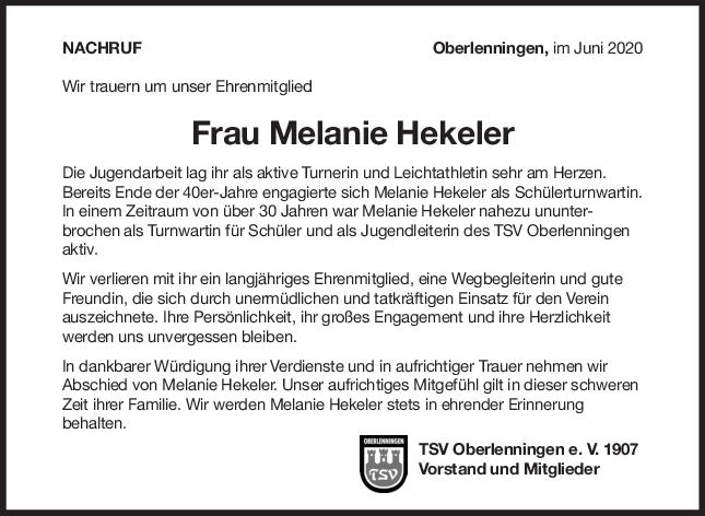 Nachruf Melanie Hekeler <br><p style=