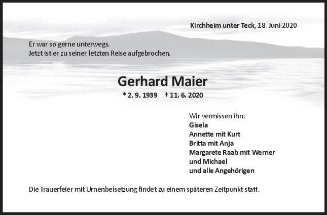 Trauer Gerhard Maier <br><p style=