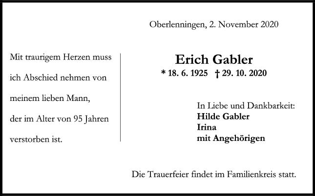 Trauer Erich Gabler <br><p style=