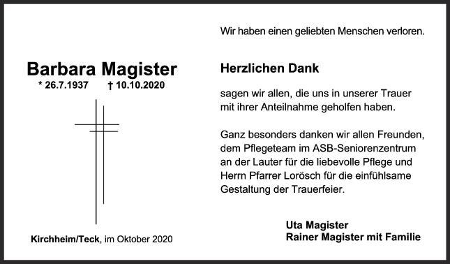 Danksagung Barbara Magister <br><p style=