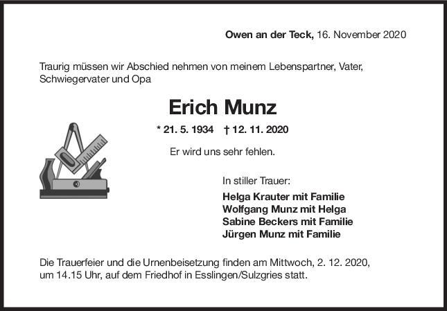 Trauer Erich Munz <br><p style=