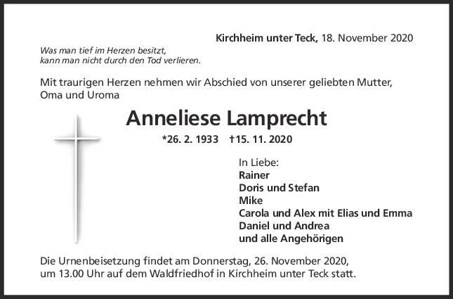 Trauer Anneliese Lamprecht <br><p style=