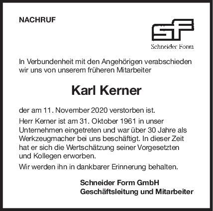 Nachruf Kerner Karl <br><p style=