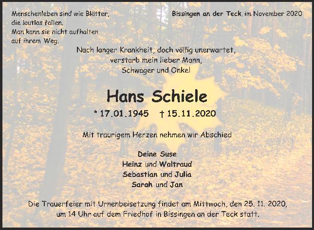 Trauer Hans Schiele <br><p style=