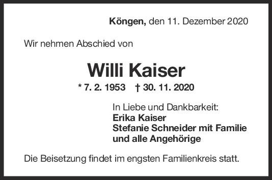 Trauer Willi Kaiser <br><p style=