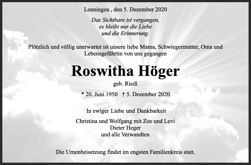 Trauer Roswitha Höger <br><p style=