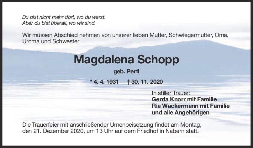 Trauer Magdalena Schopp <br><p style=