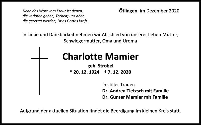 Trauer Charlotte Mamier <br><p style=