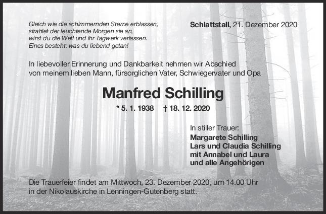 Trauer Manfred Schilling <br><p style=