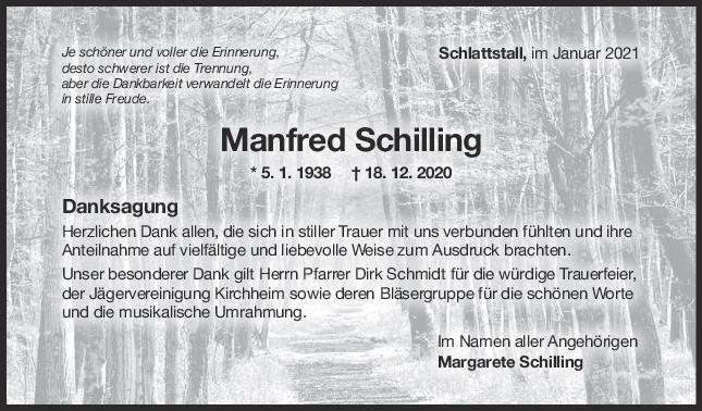 Danksagung Manfred Schilling <br><p style=