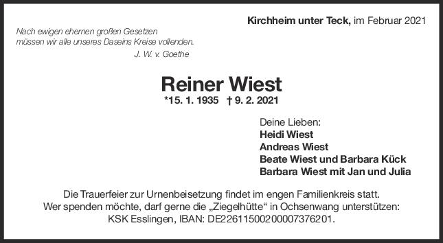 Trauer Reiner Wiest <br><p style=