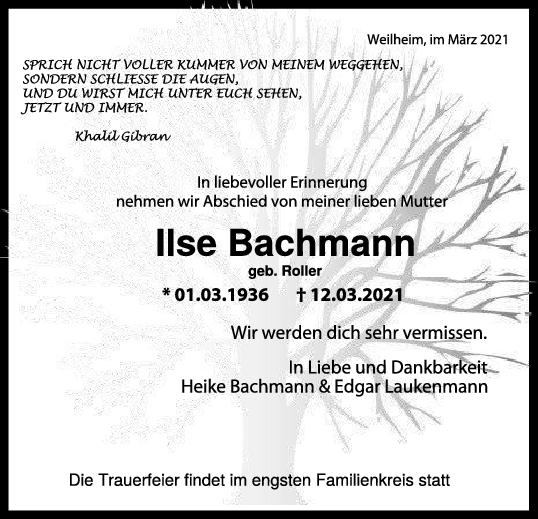 Trauer Ilse Bachmann <br><p style=