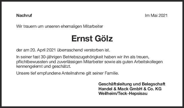 Nachruf Ernst Gölz <br><p style=