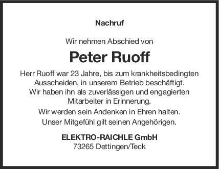 Nachruf Peter Ruoff <br><p style=