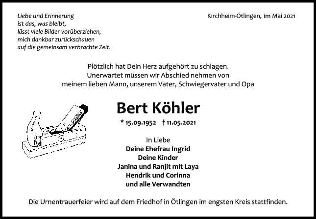 Trauer Bert Köhler <br><p style=