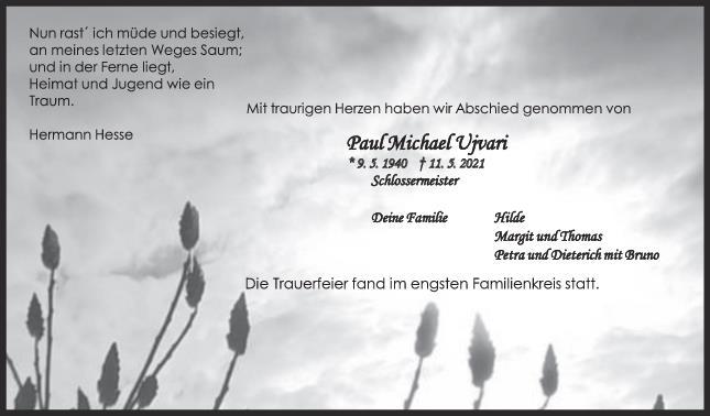 Trauer Paul Ujvari <br><p style=