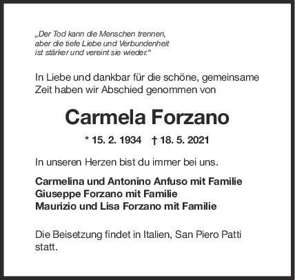 Trauer Carmela Forzano <br><p style=
