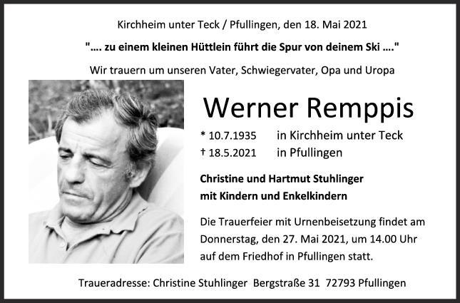Trauer Werner Remppis <br><p style=