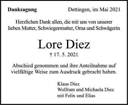 Danksagung Lore Diez <br><p style=
