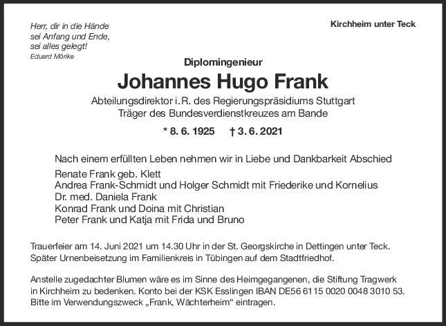 Trauer Johannes Hugo Frank <br><p style=