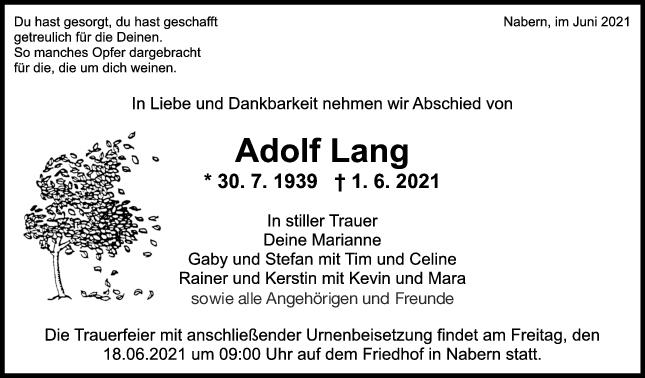 Trauer Adolf Lang <br><p style=