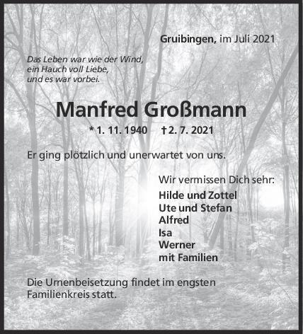 Trauer Manfred Großmann <br><p style=
