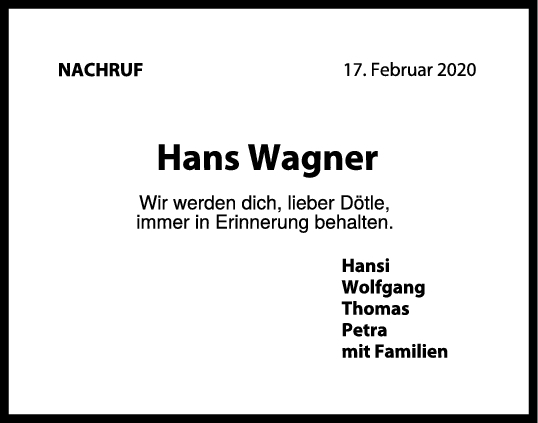 Nachruf Hans Wagner <br><p style=