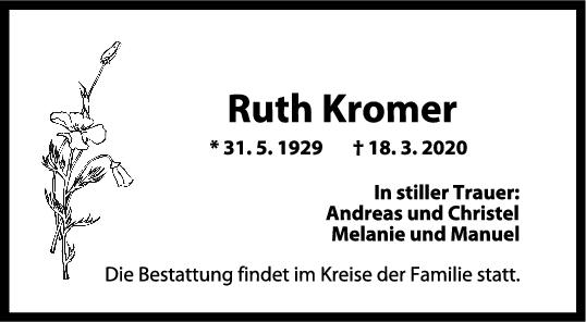 Trauer Ruth Kromer <br><p style=