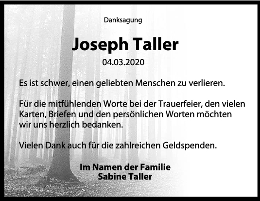 Danksagung Joseph Taller <br><p style=