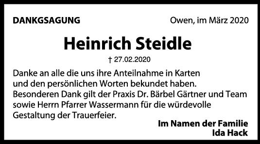 Danksagung Heinrich Steidle <br><p style=