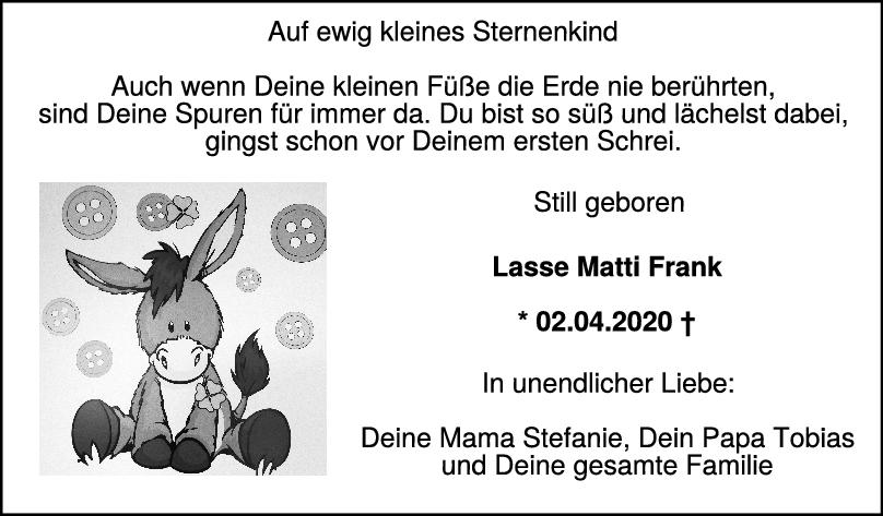 Trauer Lasse Matti Frank <br><p style=