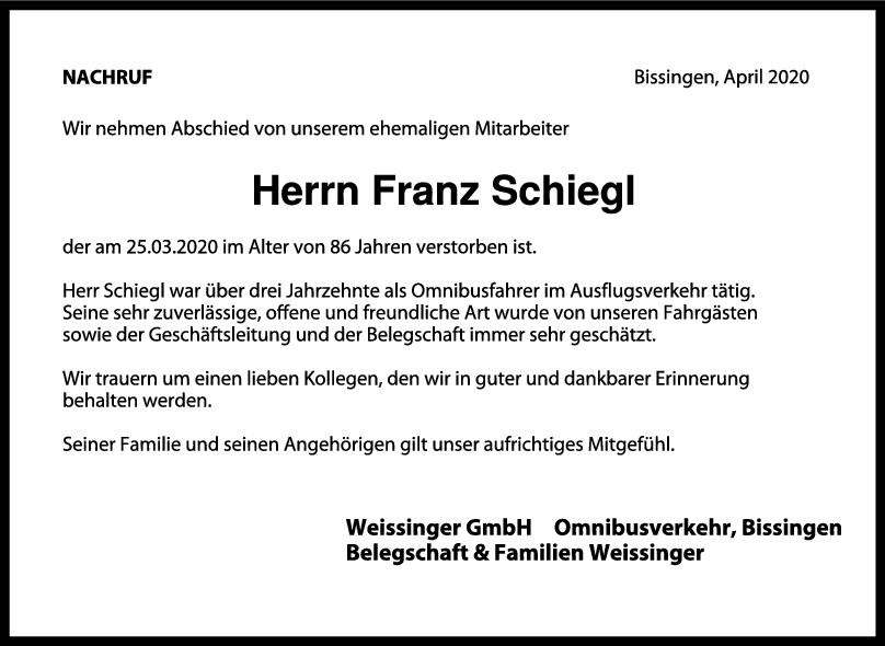 Nachruf Franz Schiegl <br><p style=