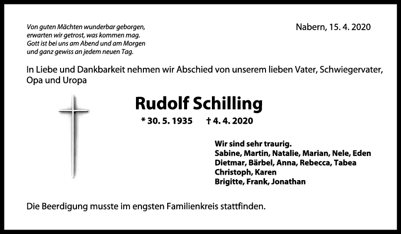 "Trauer Rudolf Schilling <br><p style=""font-size: 10px; text-align: center;"">15/04/2020</p>"