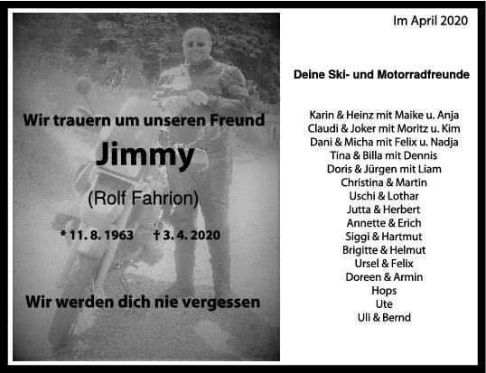 Nachruf Rolf Fahrion (Jimmy) <br><p style=