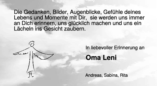 Nachruf Oma Leni <br><p style=