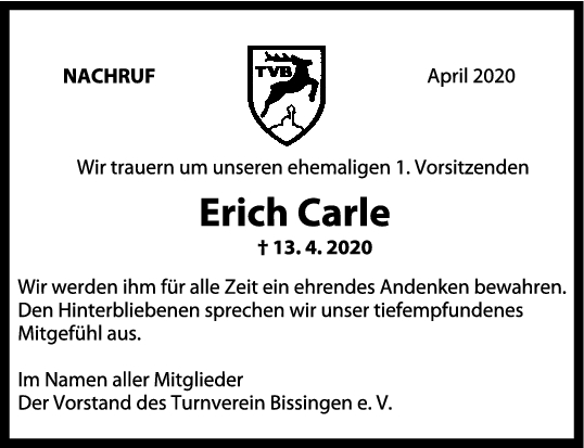 "Nachruf Erich Carle <br><p style=""font-size: 10px; text-align: center;"">30/04/2020</p>"