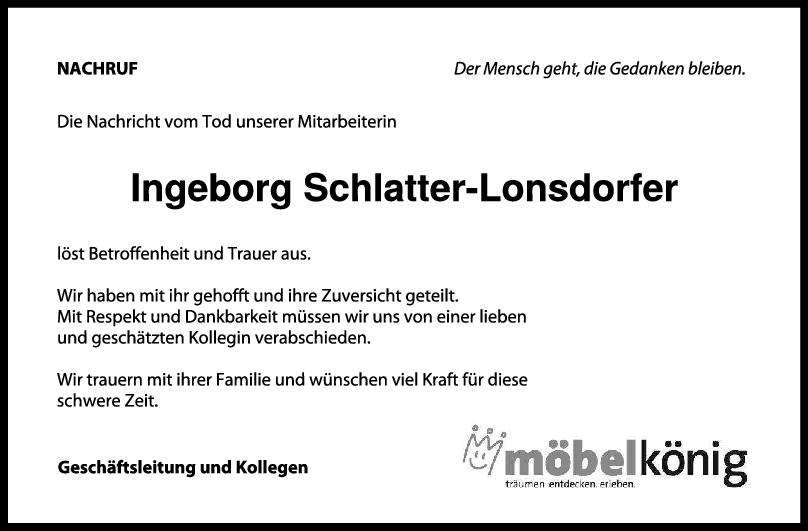 Nachruf Ingeborg Schlatter-Lonsdorfer <br><p style=