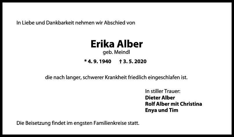 """Trauer Erika Alber <br><p style=""""font-size: 10px; text-align: center;"""">09/05/2020</p>"""