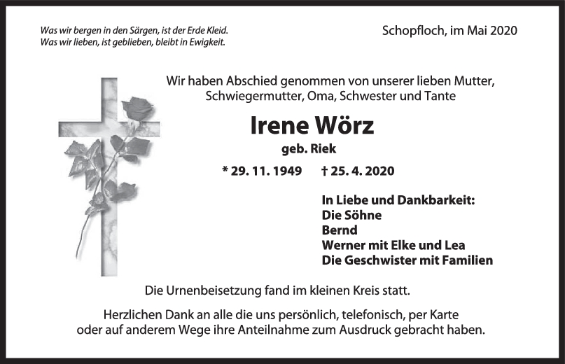 Trauer Irene Wörz <br><p style=