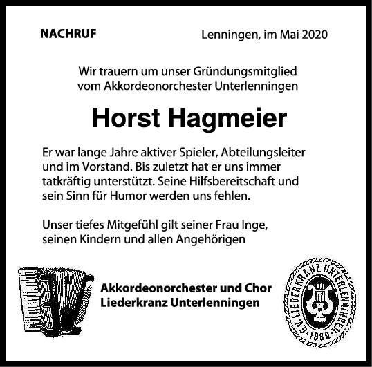 Nachruf Horst Hagmeier <br><p style=