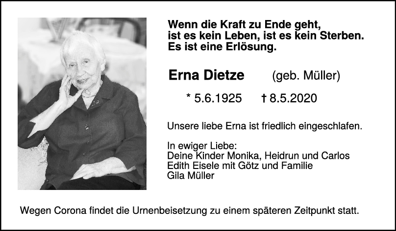 "Trauer Erna Dietze <br><p style=""font-size: 10px; text-align: center;"">16/05/2020</p>"