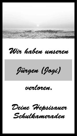 Trauer Jürgen (Jogi) <br><p style=