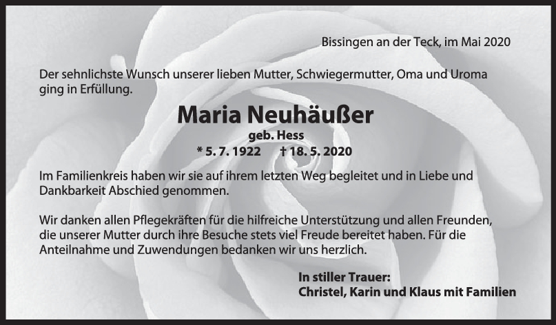 """Trauer Maria Neuhäußer <br><p style=""""font-size: 10px; text-align: center;"""">30/05/2020</p>"""