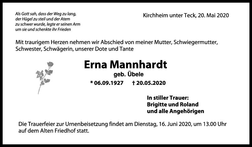 Trauer Erna Mannhardt <br><p style=