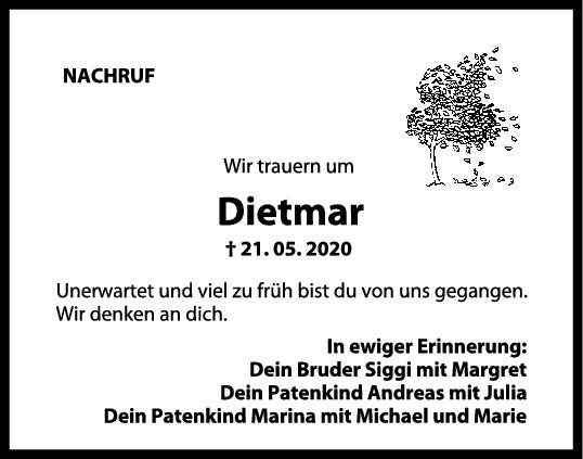 "Nachruf Dietmar <br><p style=""font-size: 10px; text-align: center;"">09/06/2020</p>"
