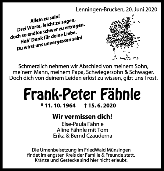 Trauer Frank-Peter Fähnle <br><p style=