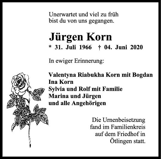 "Trauer Jürgen Korn <br><p style=""font-size: 10px; text-align: center;"">22/06/2020</p>"
